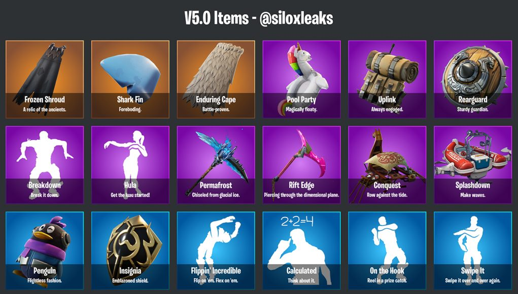 Names And Rarities For The Upcoming V5 0 0 Items Fortnite Intel