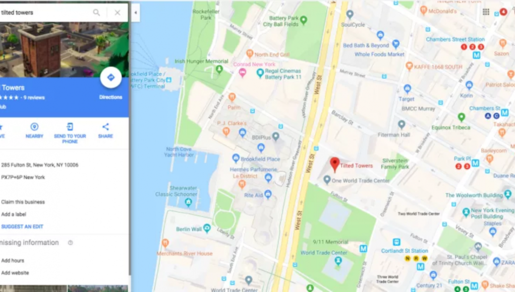 you could find tilted towers on google maps at the one world trade center - tilted towers fortnite background png