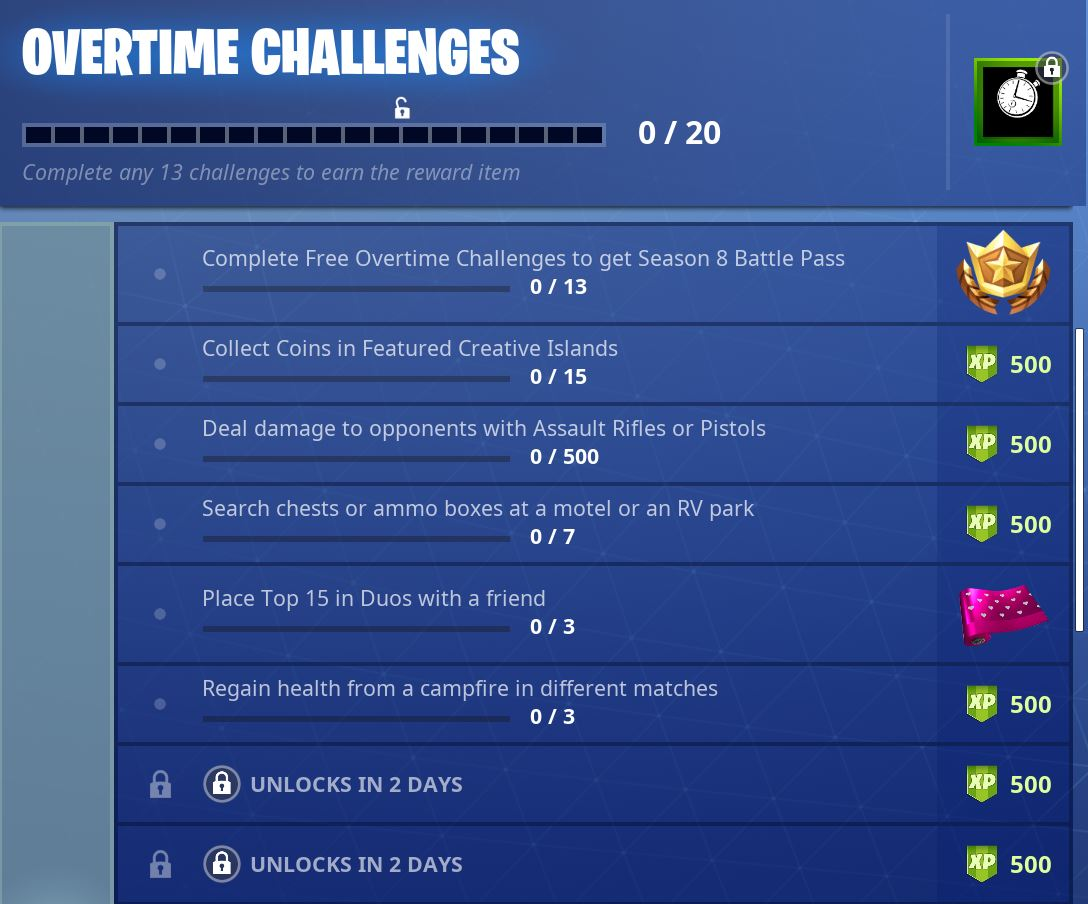 Three more 'Overtime' challenges have unlocked in Fortnite ...