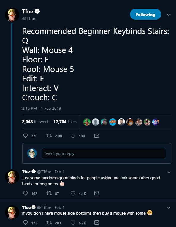 here are tfue s recommended beginner keybinds for fortnite - best fortnite binds for pc