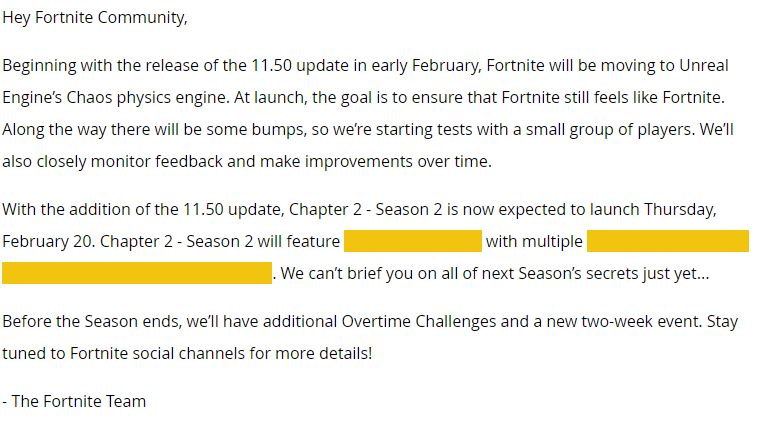 Fortnite Episode 2: Season 2 Start Date Announced