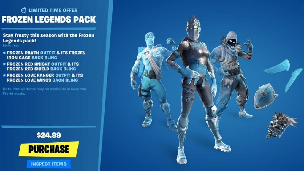 Frozen Legends pack store page fortnite