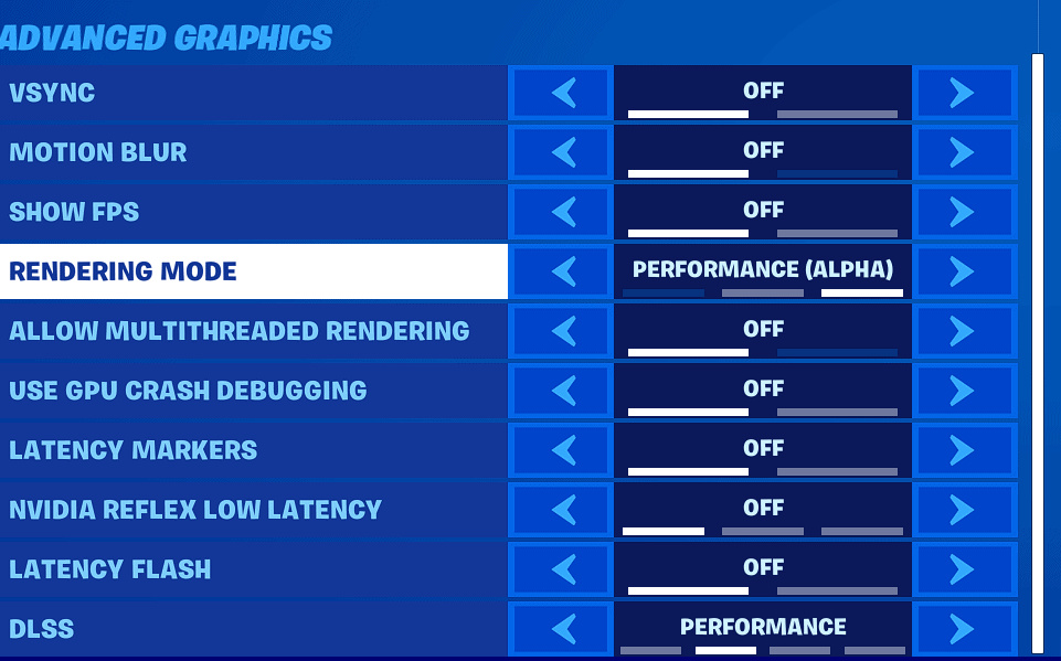 Fortnite Performance Mode settings