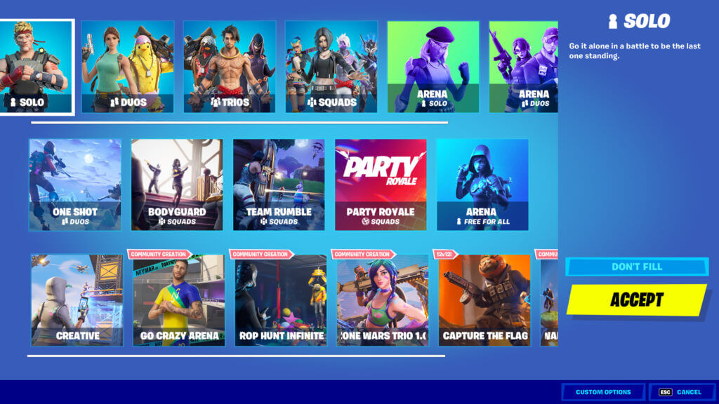 Fortnite Mode Select Screen